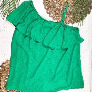 Torrid Green Polka Dot One Shoulder Ruffle Top